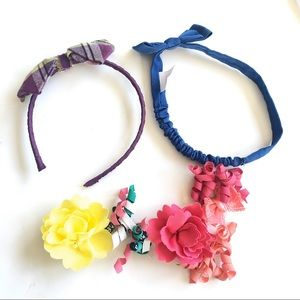Gymboree Purple and Coral Orange Floral Headband Girls Hair Accessory NEW
